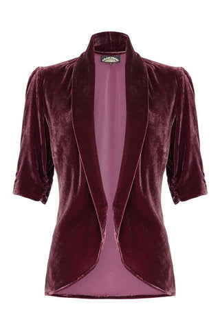 Lilliana jacket in rosewood silk velvet - front cutout