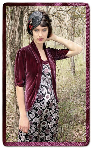 Lilliana jacket in rosewood silk velvet - second location shot