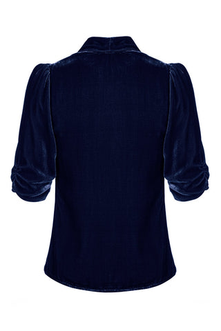 Nancy Mac's Lilliana - a vintage 1940s style tea jacket in midnight blue silk velvet - mannequin back