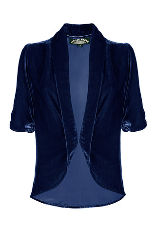 Nancy Mac's Lilliana jacket in midnight blue silk velvet