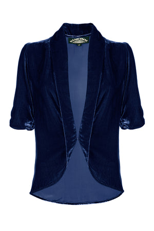 Nancy Mac's Lilliana - a vintage 1940s style tea jacket in midnight blue silk velvet - mannequin