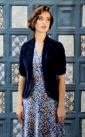 Nancy Mac's Lilliana - a vintage 1940s style tea jacket in midnight blue silk velvet - with Mae dress