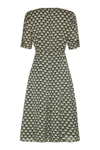 Mimi Bow Dress in Malachite Fan Crepe