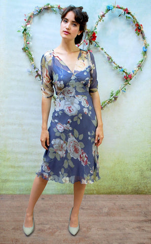 Mae dress in bluebell rose-garden print silk georgette