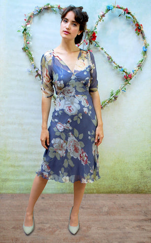 Nancy Mac silk tea dress in soft bluebell print silk georgette