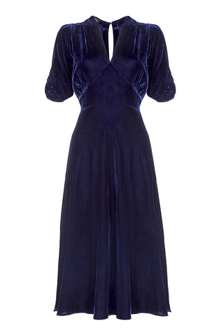 Nancy Mac Mae dress - a midi length tea dress in midnight blue silk velvet - mannequin