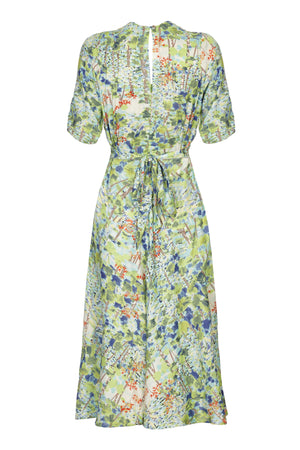 Nancy Mac Mae dress in floral Painters Garden print crepe - mannequin back