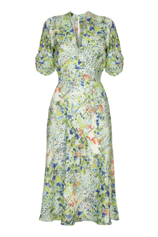Nancy Mac Mae dress in floral Painters Garden print crepe - mannequin front