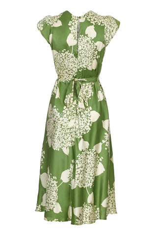 Mae dress in green Hydrangea print crepe - mannequin back