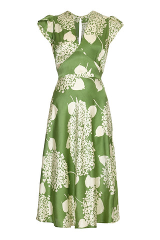 Mae dress in green Hydrangea print crepe - mannequin front
