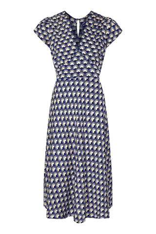 Mae dress in navy fan print crepe