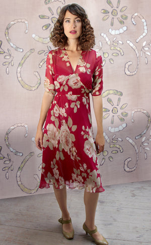Mae dress in red rosegarden print silk georgette - model shot
