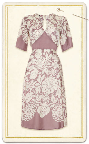 Mae dress in sweet pea lace stencil print silk viscose - framed mannequin shot