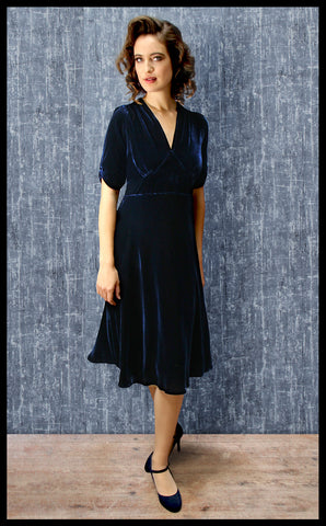 Nancy Mac Mae dress - a midi length tea dress in midnight blue silk velvet