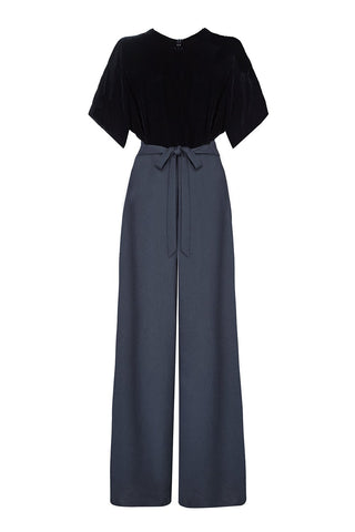 Nancy Mac vintage style jumpsuit in jet black silk velvet and crepe - mannequin shot back