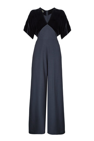 Nancy Mac vintage style jumpsuit in jet black silk velvet and crepe - mannequin shot front
