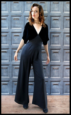 Nancy Mac vintage style jumpsuit in jet black silk velvet and crepe - model shot