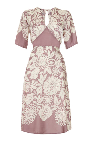 Mae dress in sweet pea lace stencil print silk viscose crepe