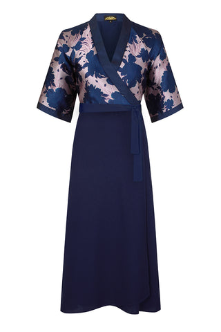 Marianne wrap dress in shaded botanical pieced brocade