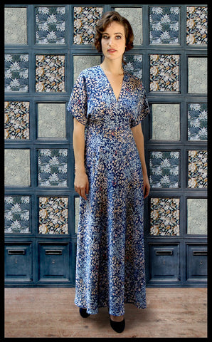 Nancy Mac's Aurora maxi dress in blue Japan floral print crepe