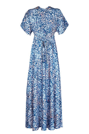 Nancy Mac's Aurora maxi dress in blue Japan floral print crepe - mannequin back