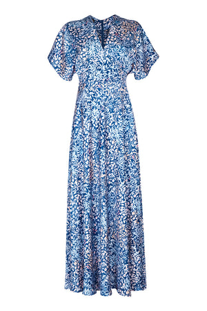 Nancy Mac's Aurora maxi dress in blue Japan floral print crepe - mannequin