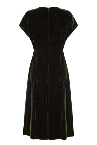 Mimi bow dress in chocolate silk velvet - back mannequin shot