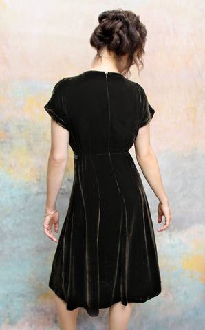 Mimi bow dress in chocolate silk velvet - back model shot