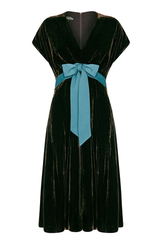 Mimi bow dress in chocolate silk velvet - front mannequin shot