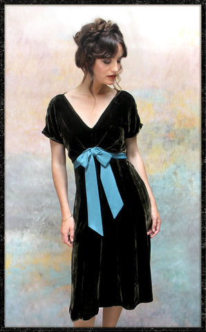 Mimi bow dress in chocolate silk velvet - front model shot