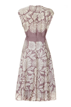 Mimi bow dress in sweet pea stencil print