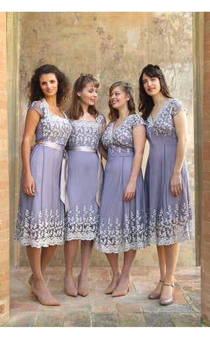 Bridesmaids dresses in periwinkle