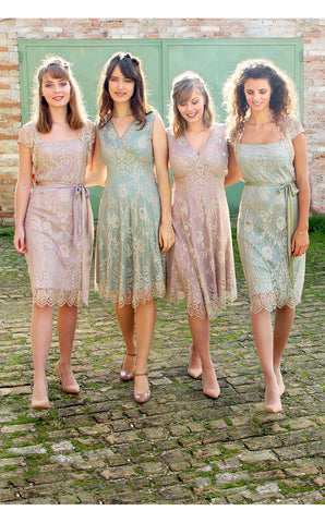 Bridesmaids dresses in platinum