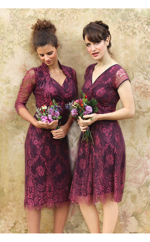 Bridesmaids dresses in rosewood