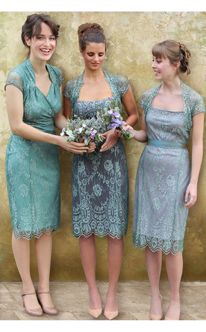 Bridesmaids dresses in aqua shimmer