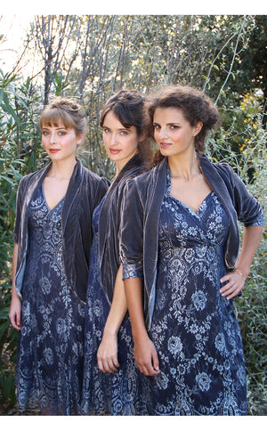 Bridesmaids dresses in silver blue