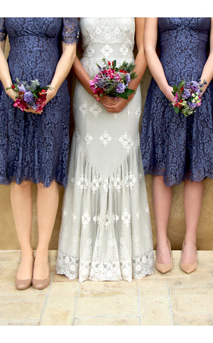Bridesmaids dresses in amethyst and purple