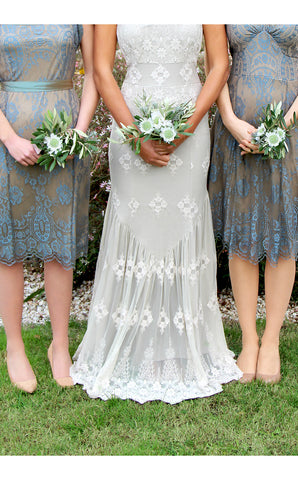 Bridesmaids dresses in blue pearl