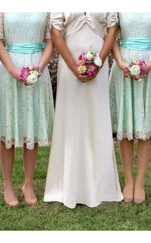 Bridesmaids dresses in ivory and aqua