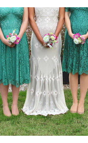 Bridesmaids dresses in jade