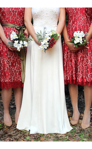 Bridesmaids dresses in ruby