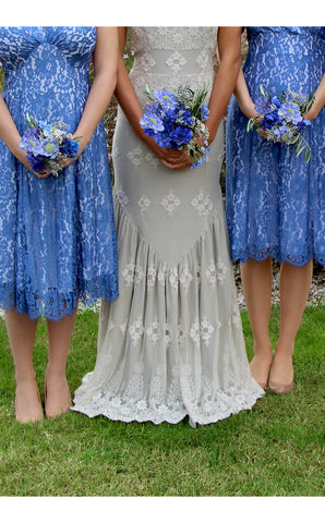 Bridesmaids dresses in cornflower blue