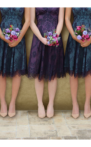 Bridesmaids dresses in midnight and currant