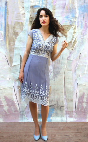 Claudia dress in Periwinkle embroidered lace