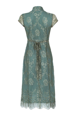 Jasmine dress in aqua shimmer lace