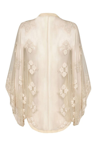 Shrug in ivory embroidered lace