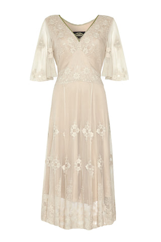 Cathleen dress in ivory lace - front mannequin shot