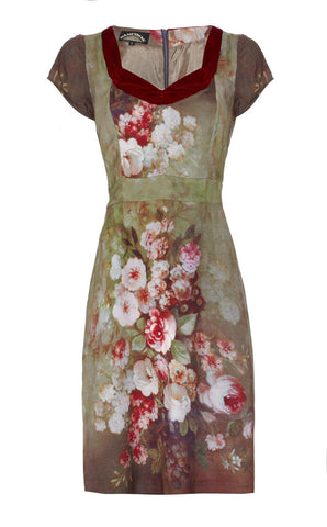 Kelly dress in Rembrant Rose print - front cutout