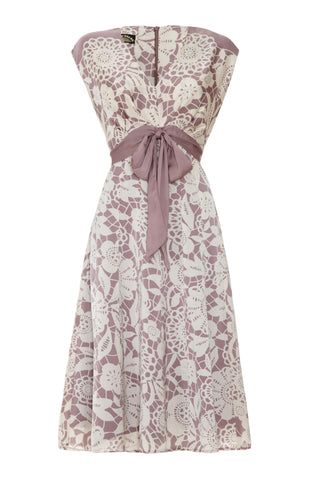 Mimi bow dress in sweet pea stencil print - mannequin front