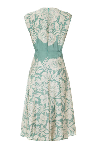 Mimi bow dress in aqua lace print - mannequin back